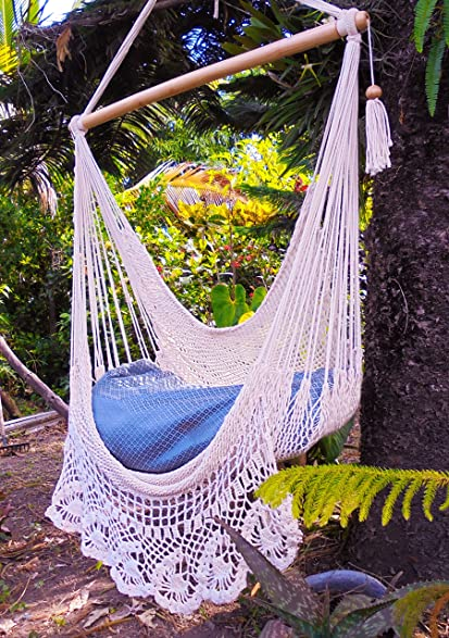beautiful crochet hammock chair beige cotton 100  handmade by leetyahammocks   indoor outdoor chair hammock amazon     beautiful crochet hammock chair beige cotton 100      rh   amazon