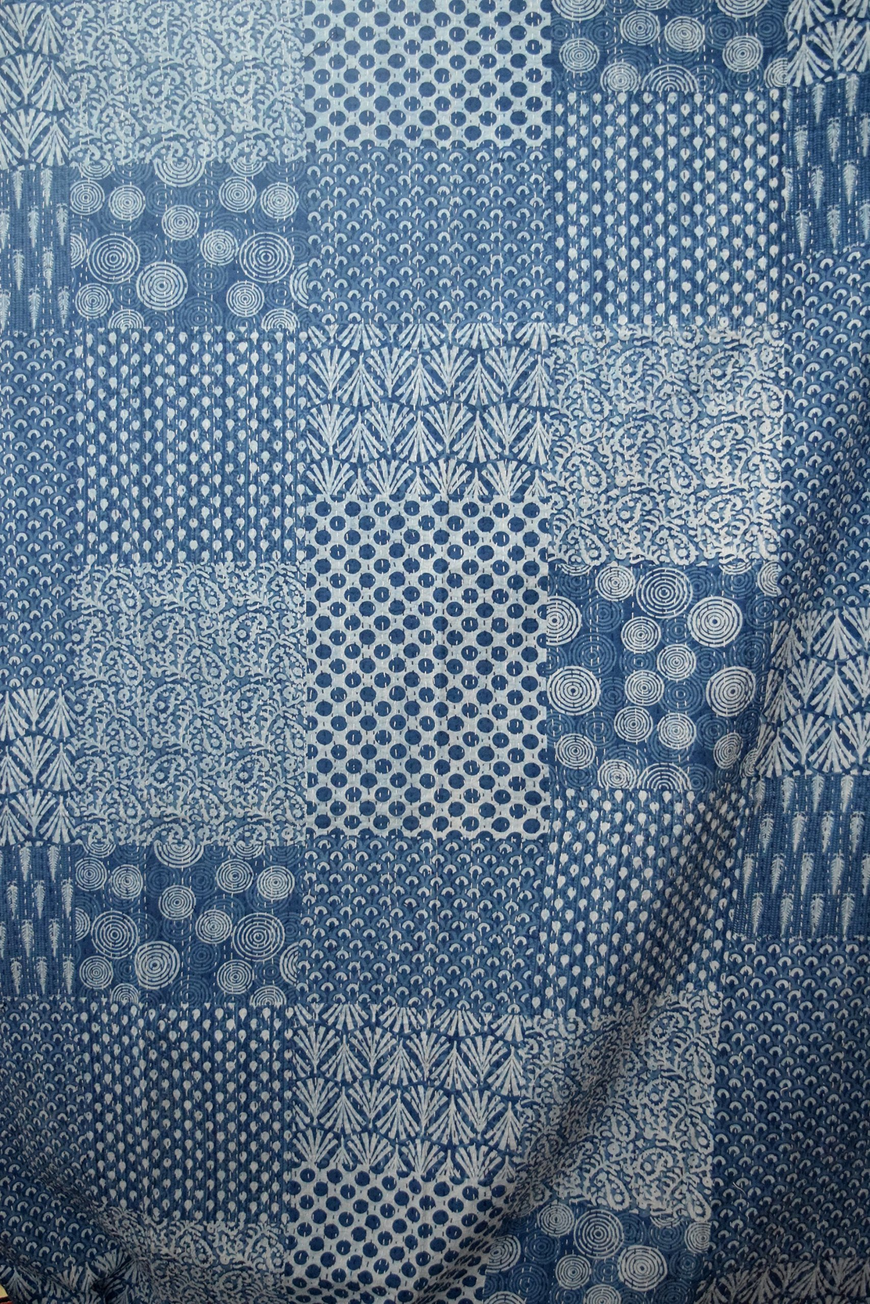 Hand Block Print Bedcover Twin Size Blue Indigo Kantha Quilt Indigo Print Bedcover Indian Kantha Quilt Block Print Bedcover Patchwork Kantha Bedcover kusum creation by kusum creation (Image #3)