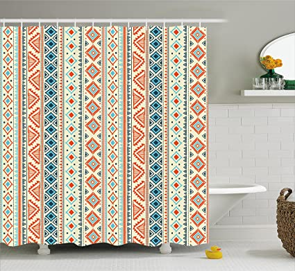 Ambesonne Tribal Shower Curtain Mexican Style Aztec Patterned Retro Hand Drawn Design Abstract Fabric