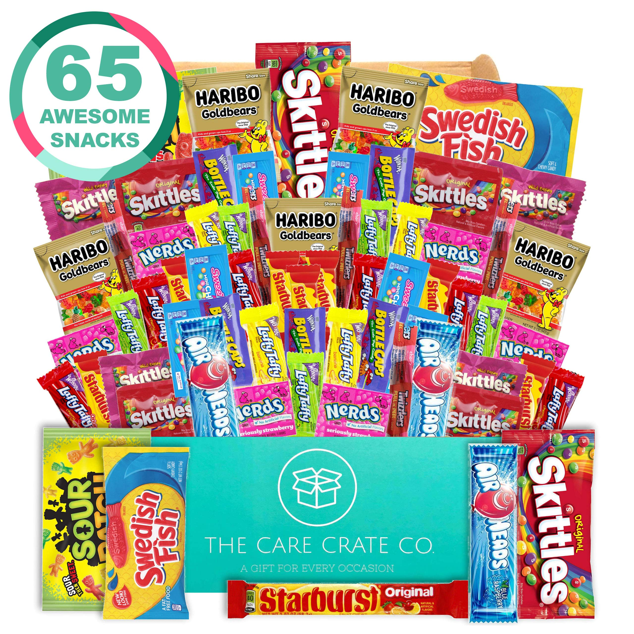 The Care Crate Ultimate Candy Snack Box Care Package ( 65 piece Candy and Snack Pack ) Includes 10 Full Size Candies - Starburst, Skittles, Twizzlers, Chips, Pretzels & More!