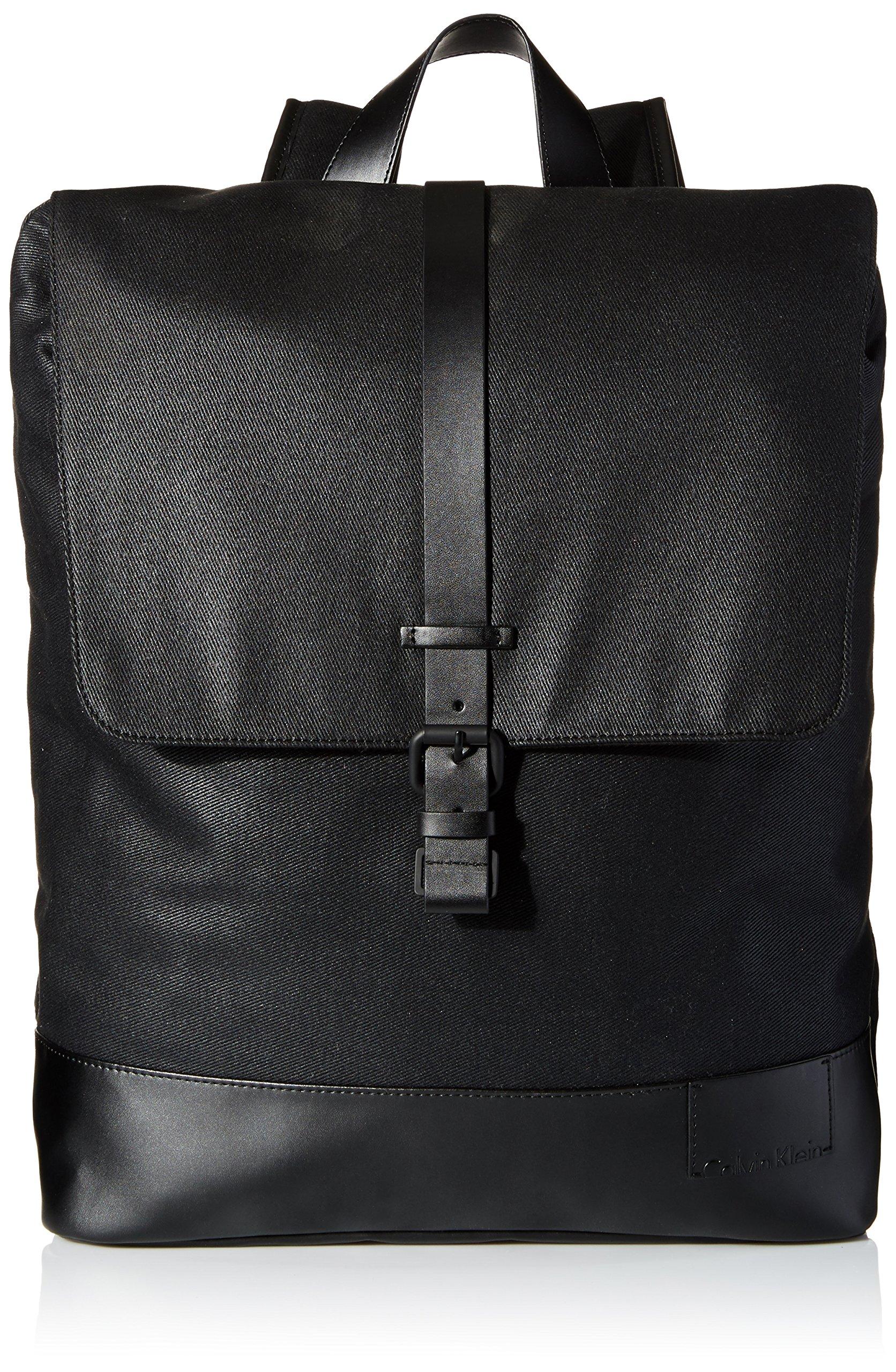 Calvin Klein Men's Calvin Klein Coated Canvas Backpack, black, One Size