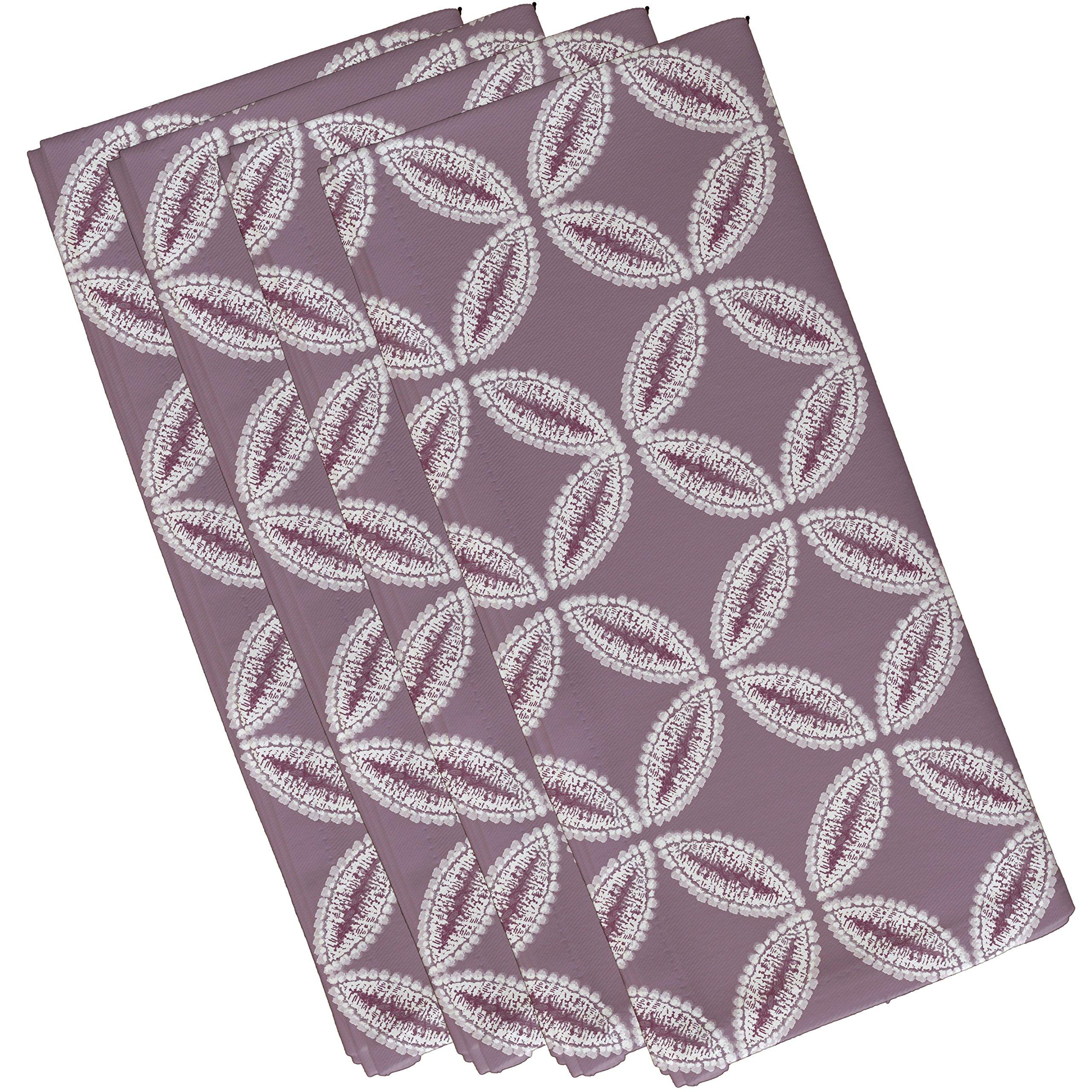 E by design N4G768PU14 Tidepool Geometric Print Napkin (Set of 4), 19'' x 19'', Lavender by E by design