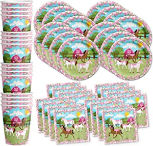 Lovely Pink Horse Birthday Party Supplies Set Plates Napkins Cups Tableware Kit for 16