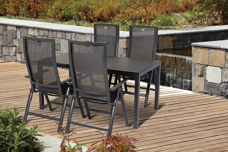 Hartman - Juego de mesa y sillas de jardín (5 piezas, aluminio) 4 sillas plegables 1 mesa Adelaide muebles de jardín