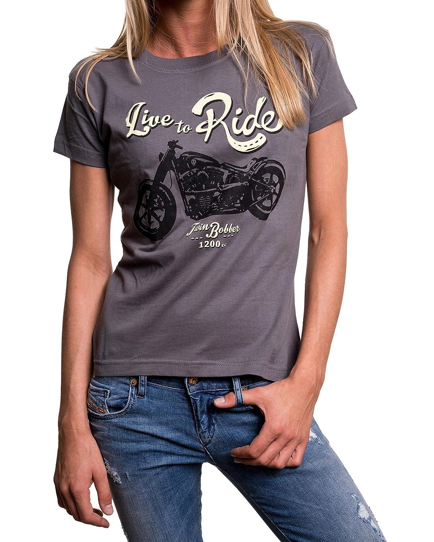 LIVE TO RIDE - Camisetas graciosas con motos para mujer: Amazon.es: Ropa y accesorios
