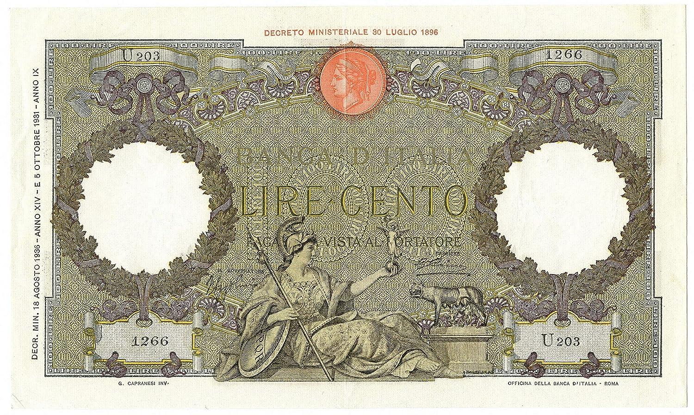 Cartamoneta  100 Lire CAPRANESI Aquila Romana Testina Fascio 18 08 1936 SPL SPL+