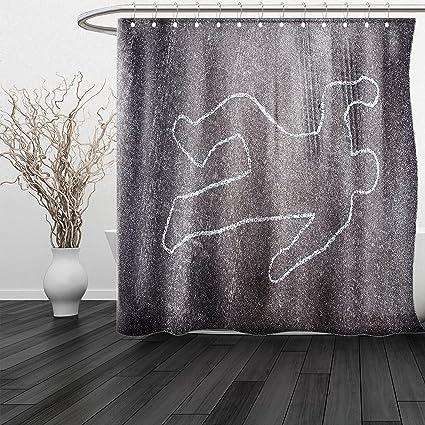 HAIXIA Shower Curtain Modern Crime Scene Investigation On A Road Street Murder Chalk Drawn Art Image