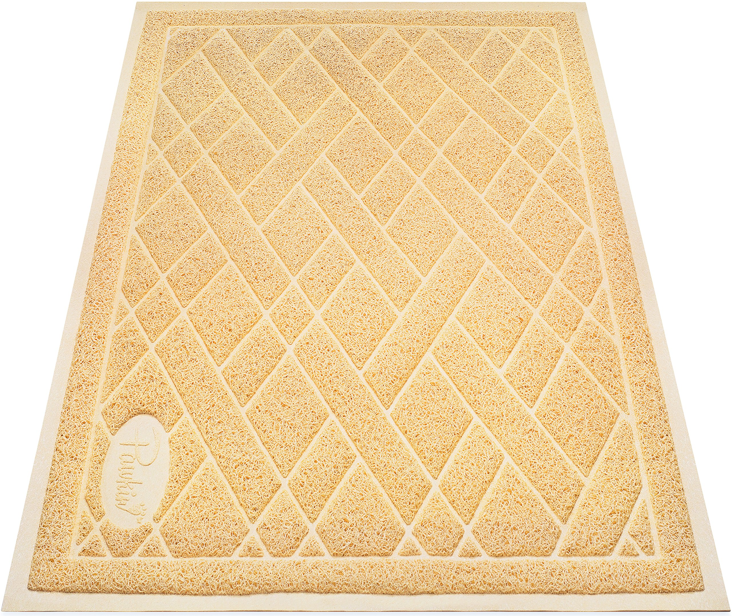 Pawkin Cat Litter Mat - Patented Design with Litter Lock Mesh - Extra Large - Durable - Easy to Clean - Soft - Fits Under Litter Box - Litter Free Floors - Golden Beige