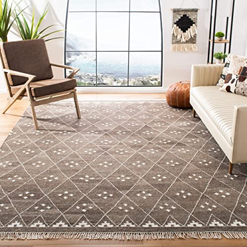 Safavieh Natural Kilim Collection NKM316A Flatweave Brown and Ivory Wool Area Rug 6' x 9'