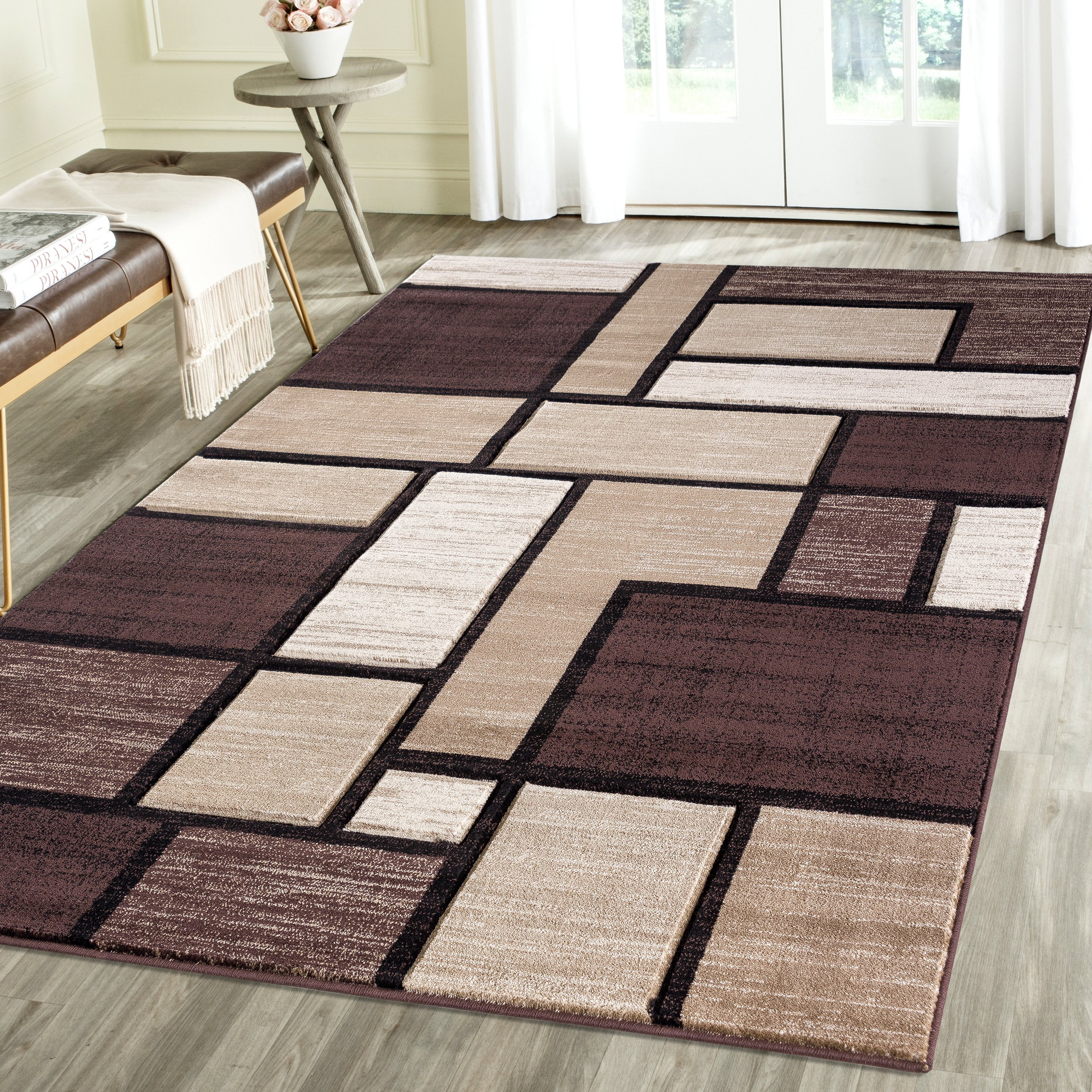 Contemporary Squared Geometric Emerald Collection Carved Area Rug by Rug Deal Plus (7'11'' x 10'4'', Brown/Beige)