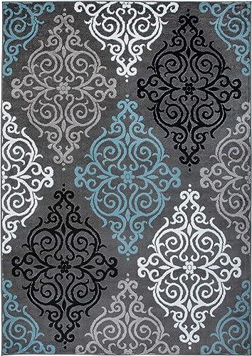 Rugshop Modern Transitional Soft Damask Area Rug 6' 6″ X 9' Blue