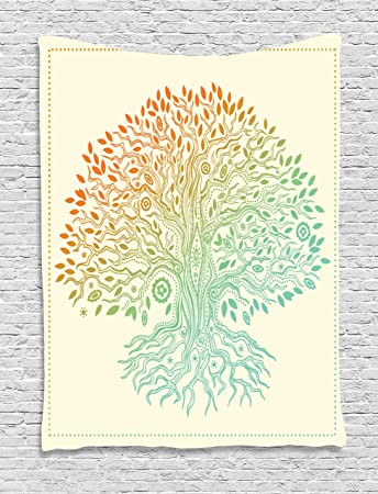 Amazon Ambesonne Tree Of Life Decor Collection Vintage Tree Of Enchanting Tree Of Life Pattern