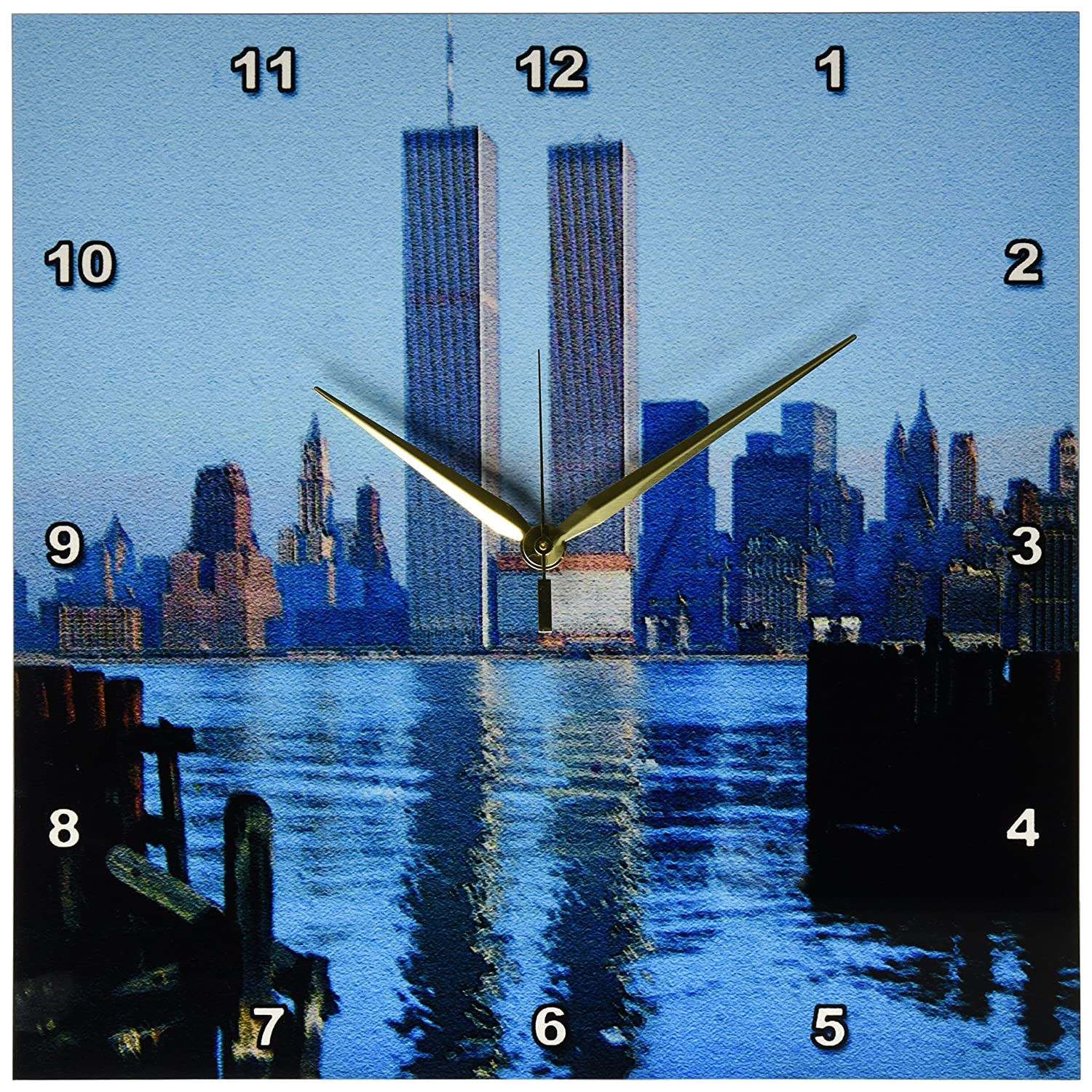 13 by 13-Inch 3dRose dpp/_16862/_2 Vintage Twin Towers II-Wall Clock