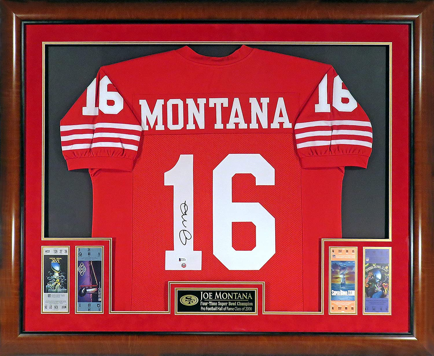 e2da20b81a0 SF 49ers Joe Montana Autographed Jersey w Replica Super Bowl Tickets  (Deluxe Horizontal Framed w  Mahogany) at Amazon s Sports Collectibles Store