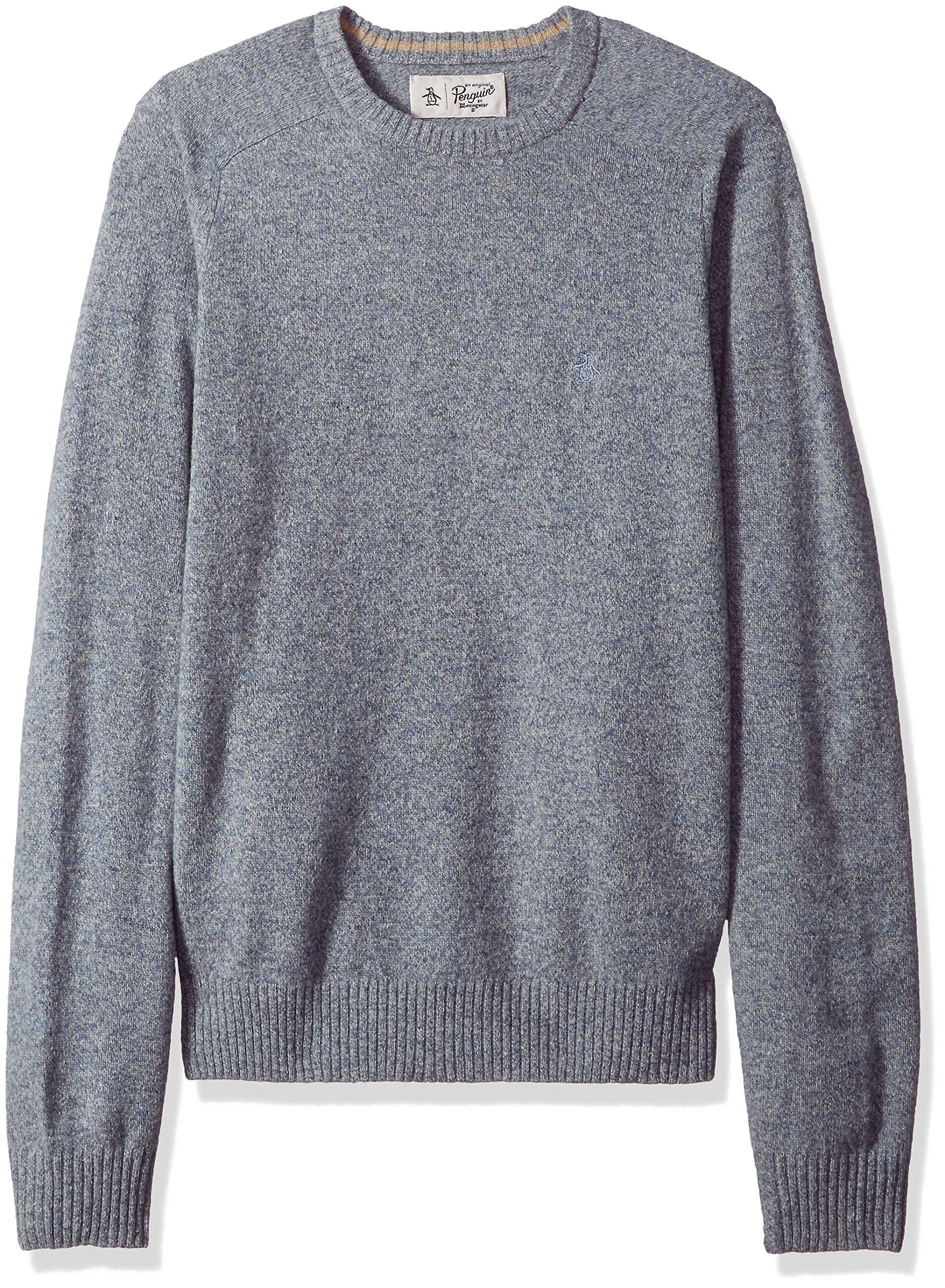 Original Penguin Men's Solid Lambswool Crew Sweater, Faded Denim, Medium