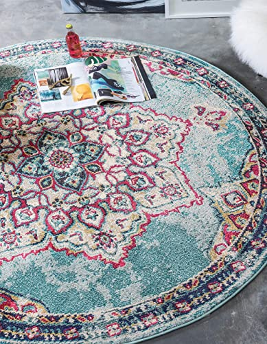 Unique Loom Medici Collection Floral Medallion Traditional Vintage Light Blue Round Rug 8 0 x 8 0