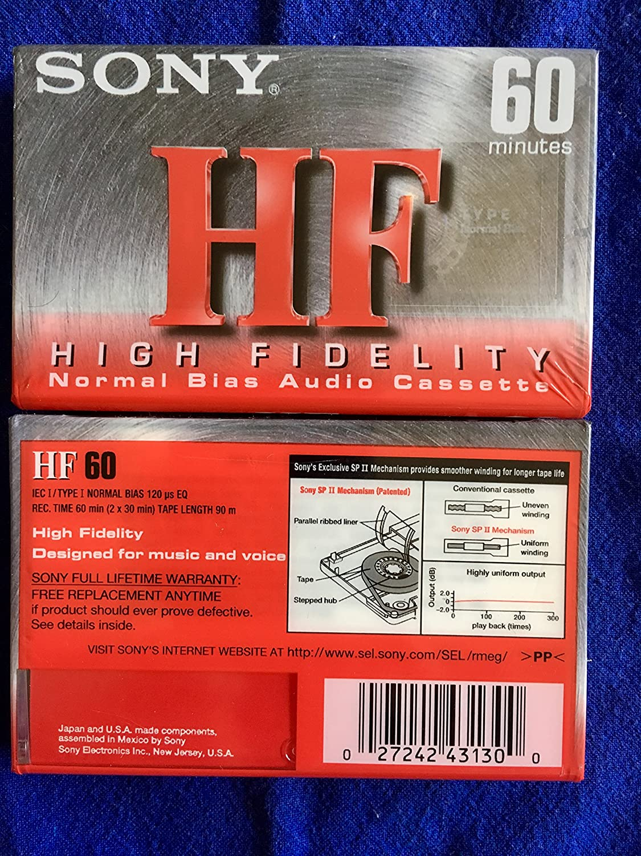 NEW Sony Single 60-minute Type 1 High Fidelity Audio Cassette Tape 8 Pack