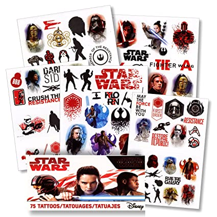 Amazoncom Star Wars The Last Jedi Tattoos 75 Assorted Temporary