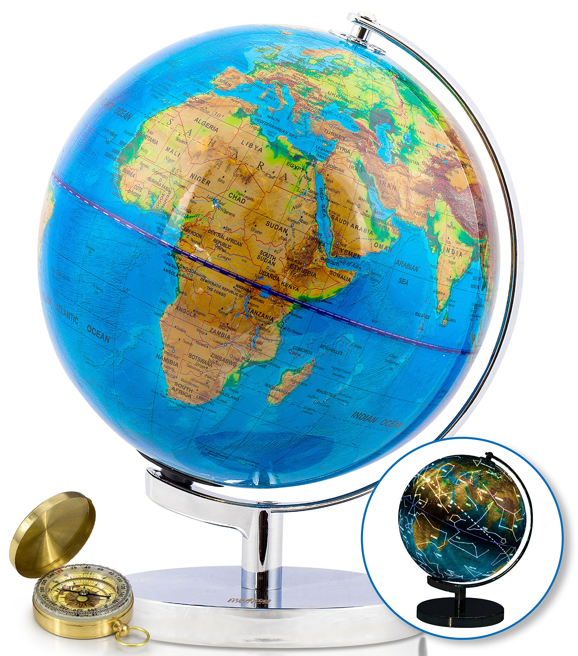 9 Inch World Globe & Compass by GetLifeBasics: See The Earth and The Stars in Details. Large Illuminated Constellation View Night, Kids Educational Astronomy & Geographic Map
