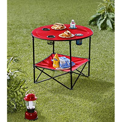 Portable Folding Picnic Table with Bench Storage for Tailgating - Red: Kitchen & Dining