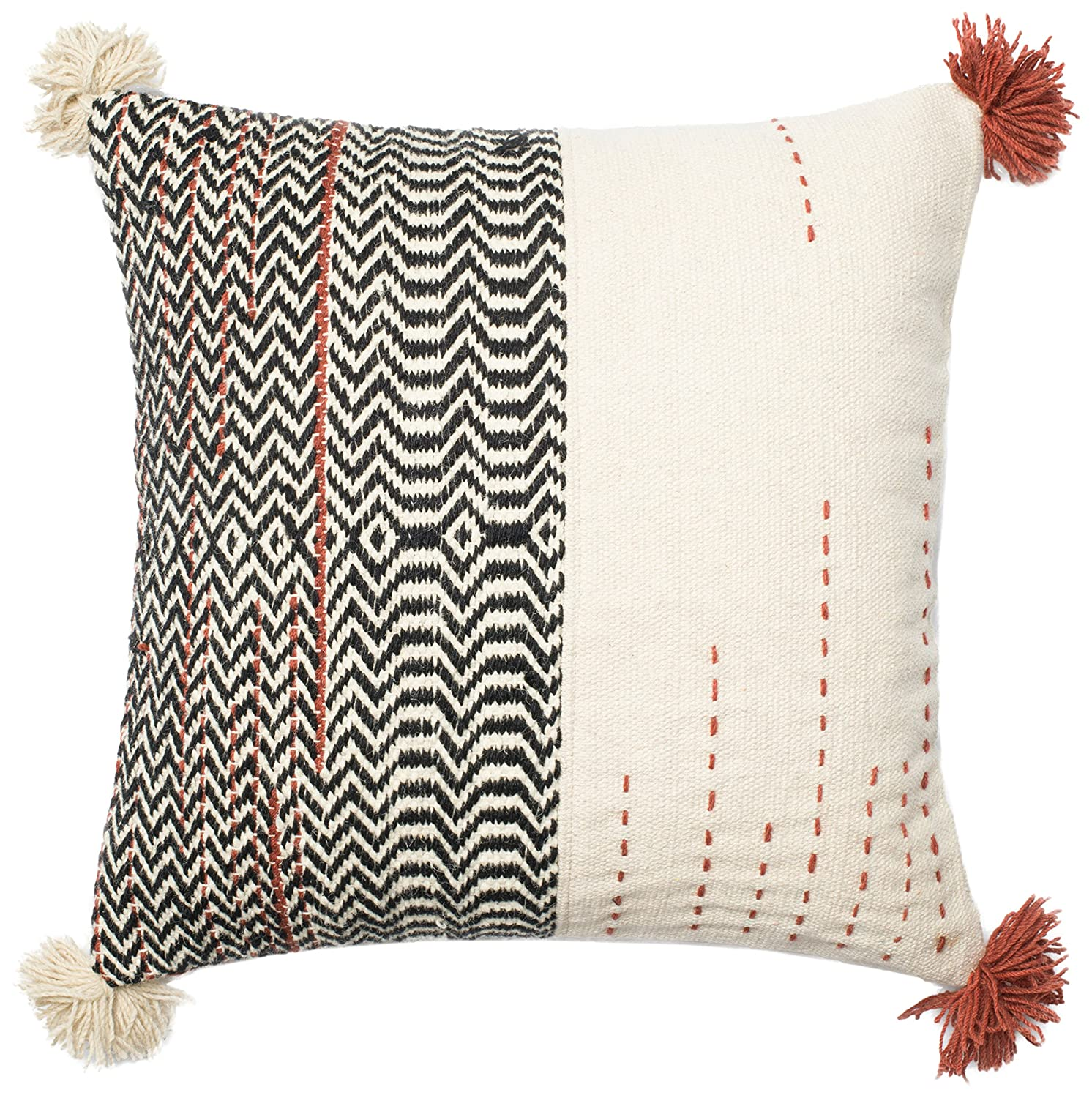 Amazon Com Loloi Pillow Poly Filled Black Ivory Pillow Cover