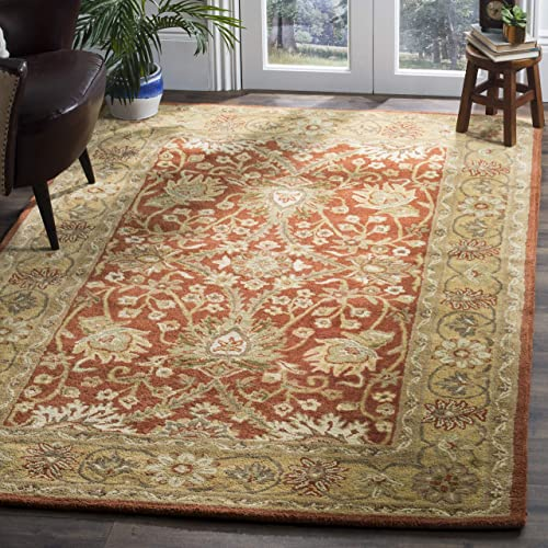 Safavieh Antiquities Collection AT249C Handmade Traditional Oriental Rust and Gold Wool Area Rug 3 x 5