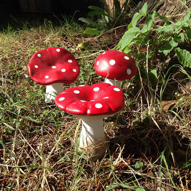 mushroom flowers miniature clay handmade without ceramic pot set of 15 pieces