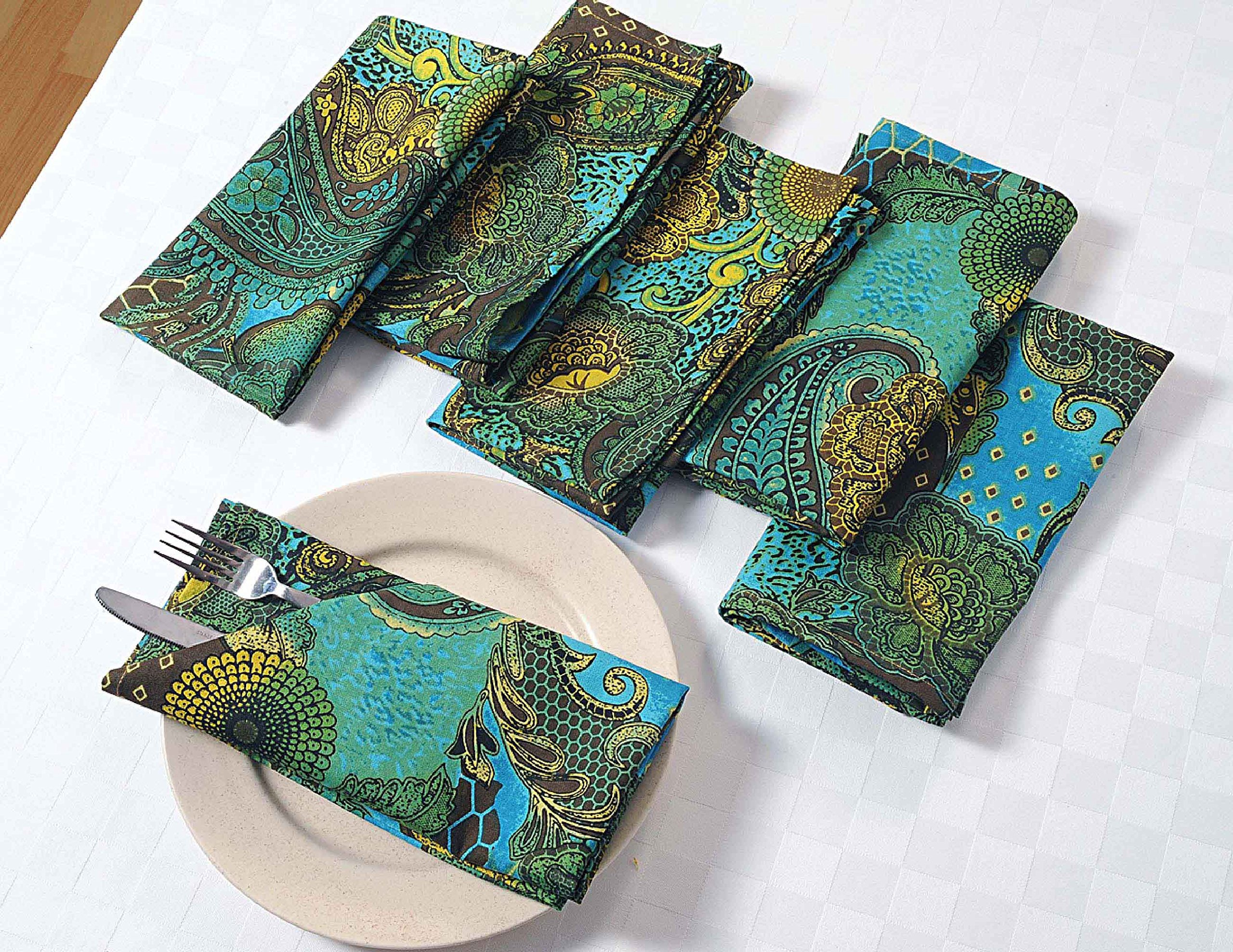 Colorful Paisley Cotton Dinner Napkins - 20'' x 20'' - Set of 24 Premium Table Linens for the Dining Room - Turquoise, Gold, Green and Chocolate