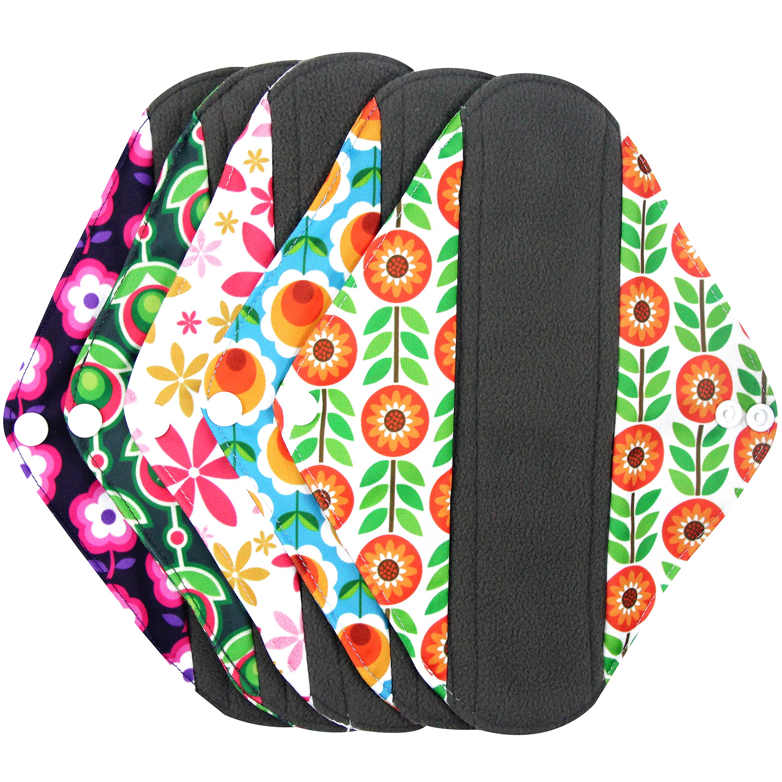 Wegreeco Bamboo Reusable Sanitary Pads - Cloth Sanitary Pads - Pack of 5 (Medium,Flower)