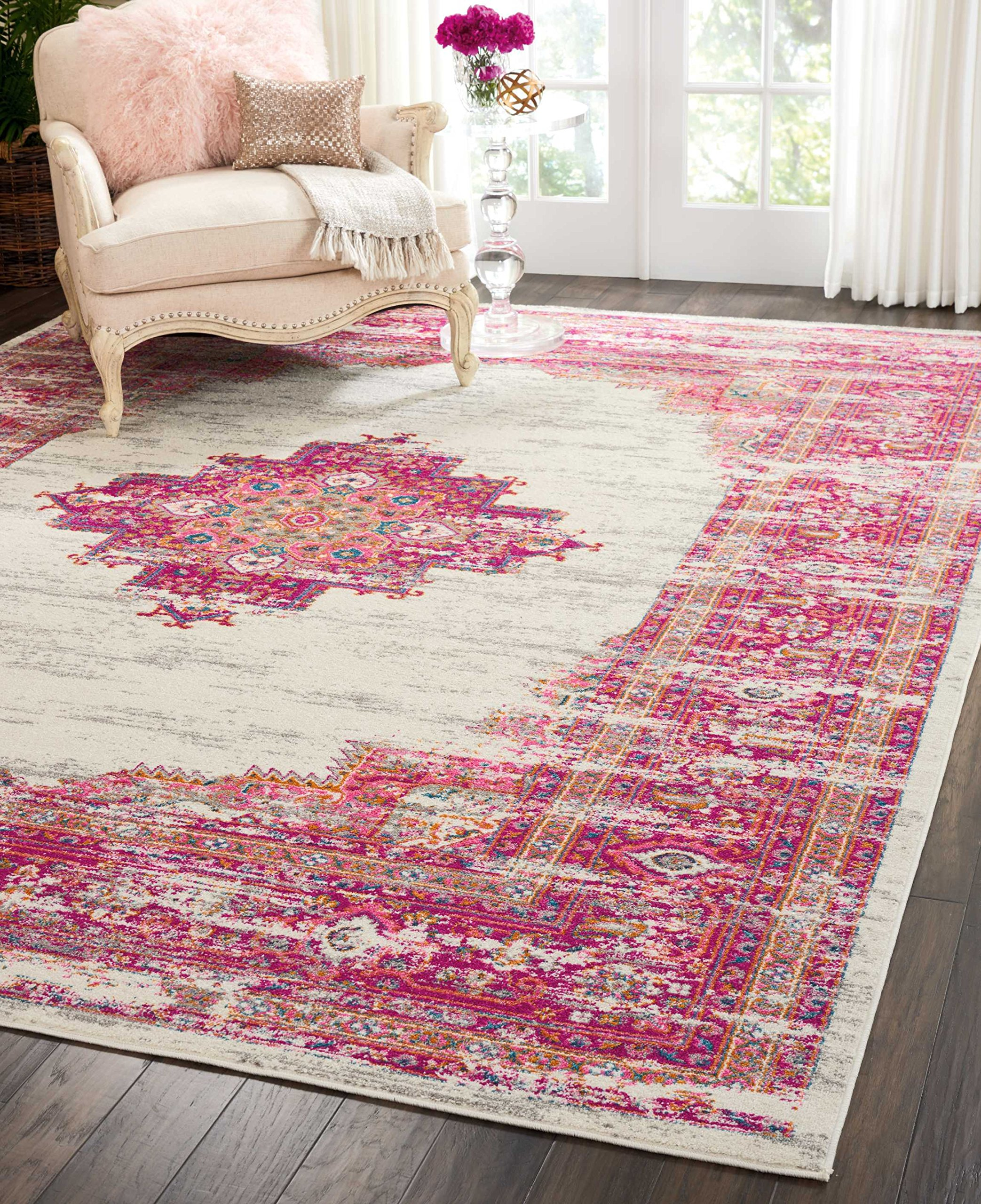 "Nourison Passion Traditional Bright Colorful Area Rug, 6'7""X9'6"", IVORY/FUSHIA - Spice up the décor in your home with Nourison. This rug is perfect for any room. Feel free to lay ontop of hard floors or carpet areas. This rug is stain resistant, fade resistant, no shedding, and easy to clean Styles: Contemporary Rugs, Bohemian - living-room-soft-furnishings, living-room, area-rugs - A1Wv%2BvWFoAL -"