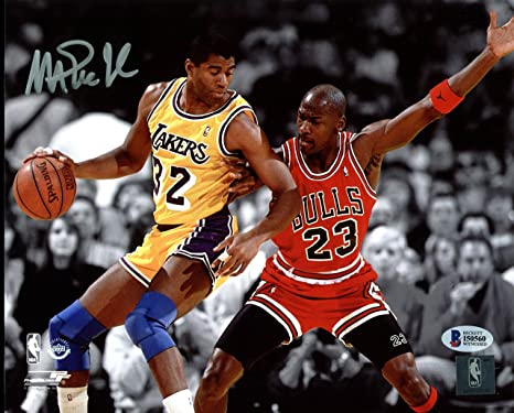 c149f07b8dcc Image Unavailable. Image not available for. Color  Lakers Magic Johnson  Signed 8X10 Spotlight Photo w  Michael Jordan ...
