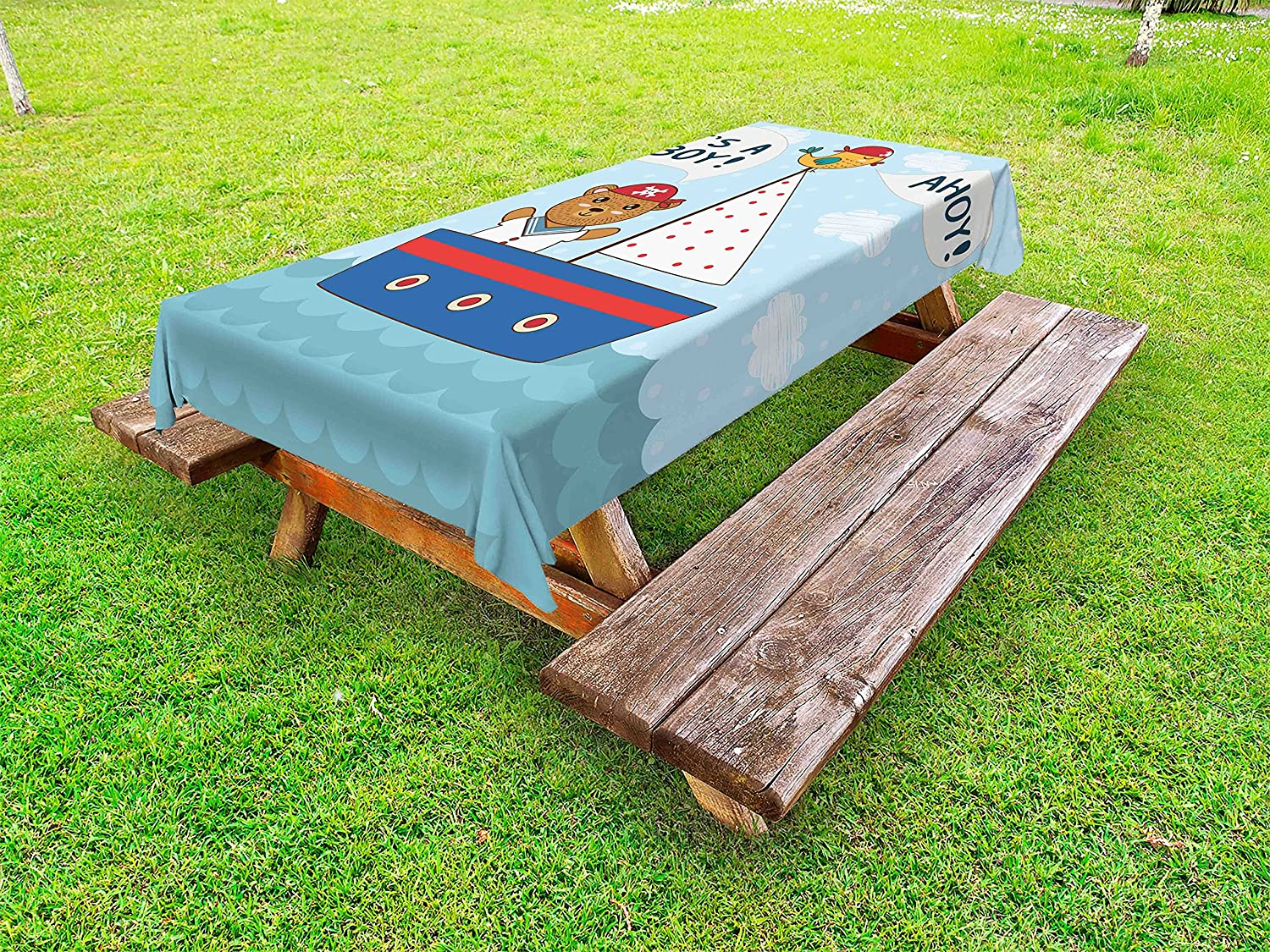 Amazoncom Ambesonne Ahoy Its A Boy Outdoor Tablecloth Cute Baby