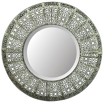 Lulu Decor, Lacy Round Silver Metal Beveled Wall Mirror 19u0026quot; ...