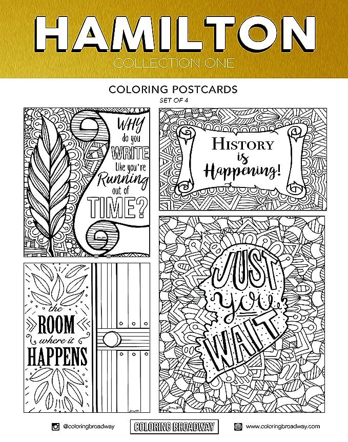 Coloring Broadway Hamilton - Tarjetas para colorear (4 unidades, 12 ...