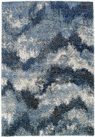 Addison Borealis Ivory Navy Grey Plush Abstract Shag Area Rug 5 3 X 7 7 Furniture Decor