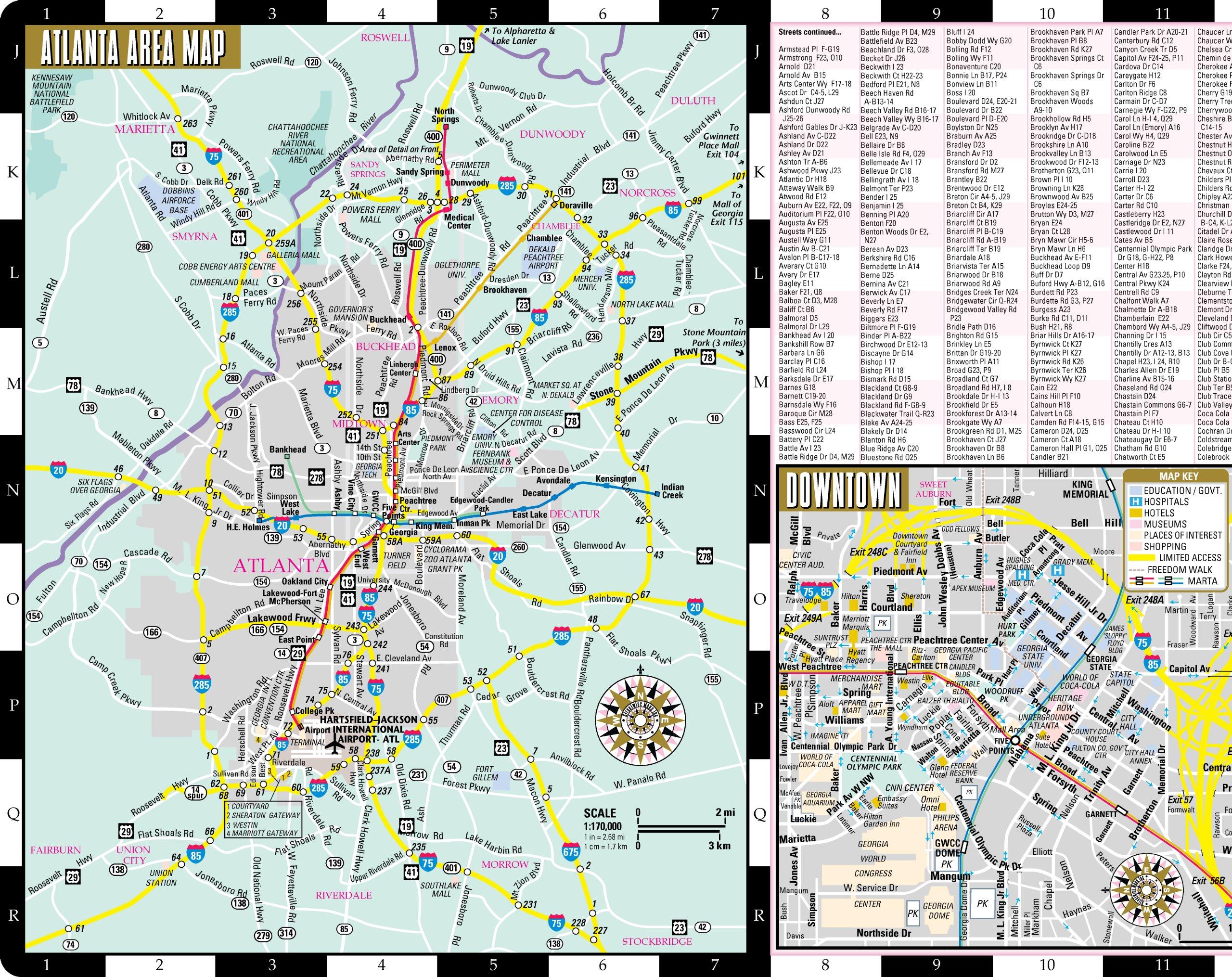 streetwise atlanta map laminated city center street map of