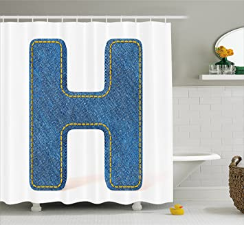 Ambesonne Letter H Shower Curtain, Denim Letter Design Uppercase H Fabric  Pattern Jeans Texture Retro