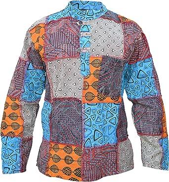 Gheri Camisa de manga completa de algodón con parche de cachemira para hombre: Amazon.es: Ropa y accesorios