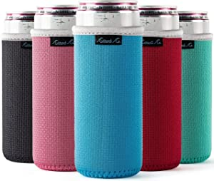Slim Can Cooler Sleeves (5 Pack) for White Claw Sleeves for 12oz Skinny Can Coolers - Soft Insulated Slim Sleeves for Cans - Beer Sleeves for Cans like Michelob Ultra Can Holders for Tall Skinny Cans