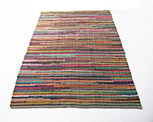 Eco friendly 100% recycled cotton colorful chindi area rug - 8'X10'