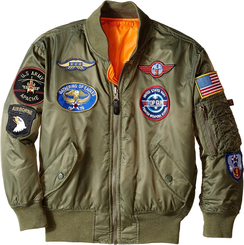 B0000CC55M Alpha Industries Boys' MA-1 Bomber Jacket with Patches A1WxOzoznnL
