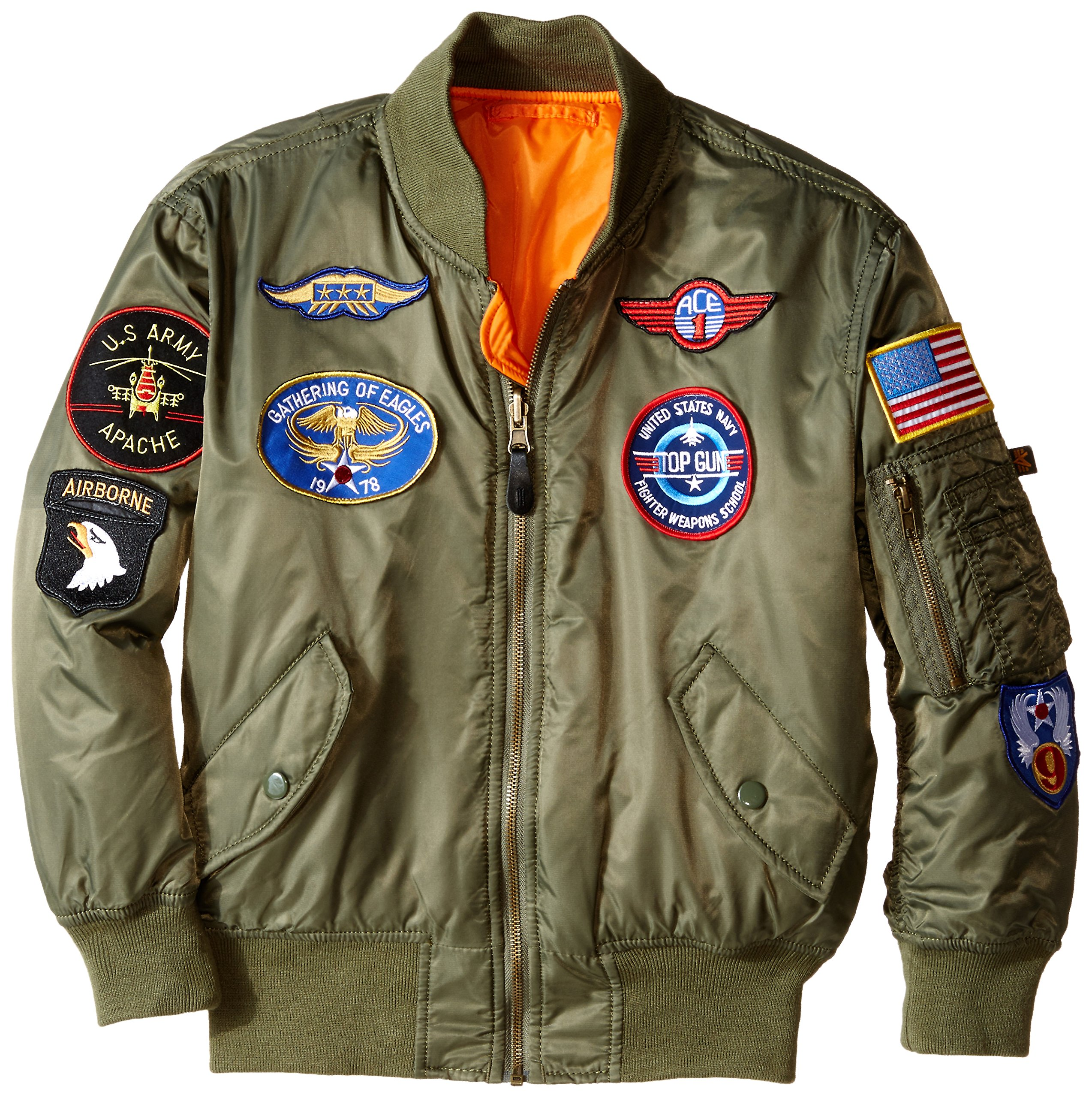 Alpha Industries Boys' Big MA-1 W/Patches Flight Jacket, Sage, YS 8