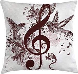 "Ambesonne Music Throw Pillow Cushion Cover, Floral Design with Treble Clef and Singing Flying Birds Sparrows Art, Decorative Square Accent Pillow Case, 24"" X 24"", Chesnut White"