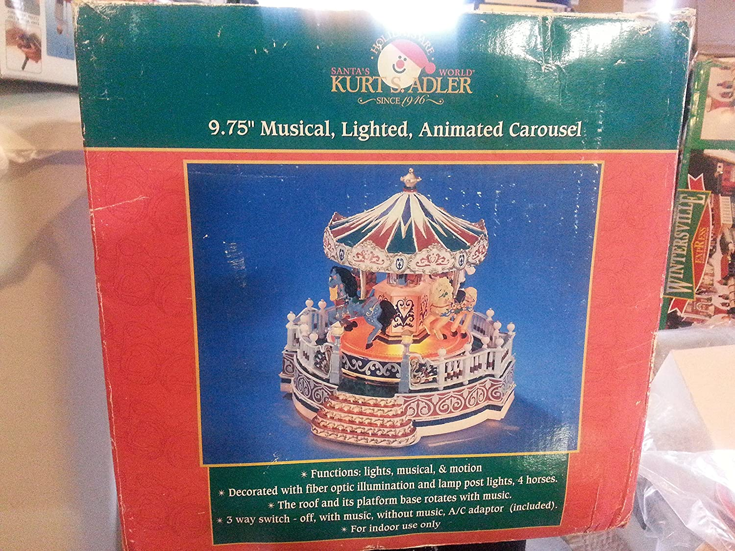 Kurts Adler 975 Musical Lighted Animated Carousel Three Way Switch Animation Kitchen Home