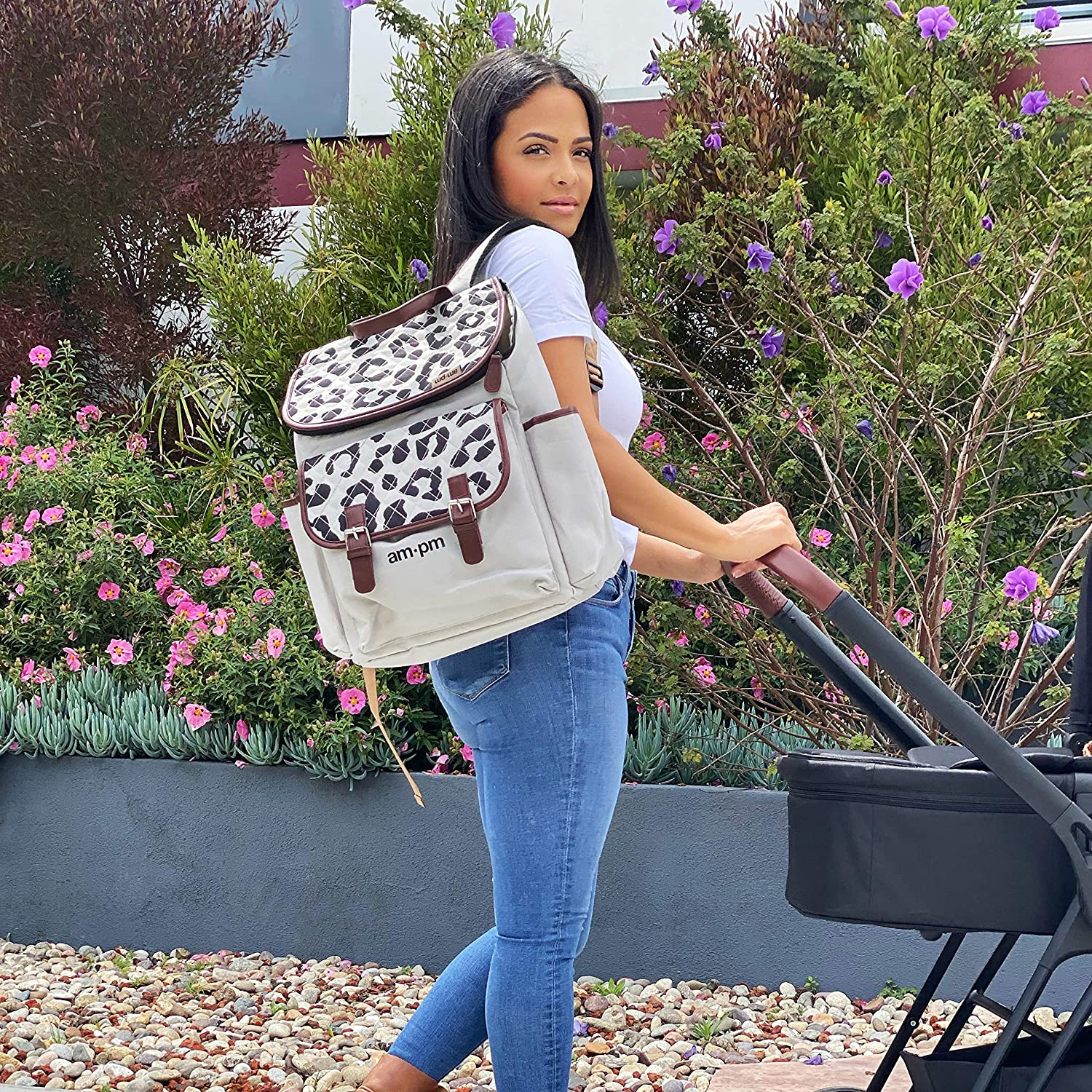Large Pocket at The Front with 2 Side Pockets Insulated Bottle Holder My Babiie AMPM by Christina Milian Leopard Backpack Changing Bag Adjustable Straps with Padded Changing Mat