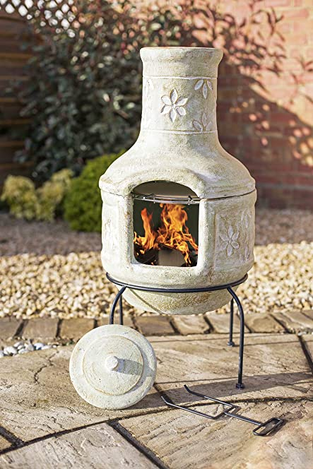 Superior Large Clay Flowers Pizza Chiminea Chimenea With BBQ Grill Patio Heater Wood  Burner