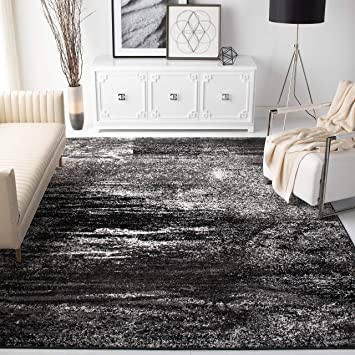 Safavieh Adirondack Collection Adr112a Modern Abstract Non Shedding Stain Resistant Living Room Bedroom Area Rug 8 X 10 Silver Black Furniture Decor