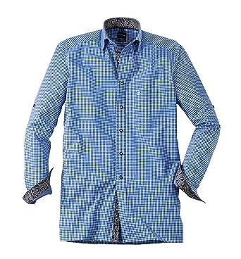 Olymp Hemd Trachtenhemd Modern Fit blau/weiss, Kariert, Größe 42 - L