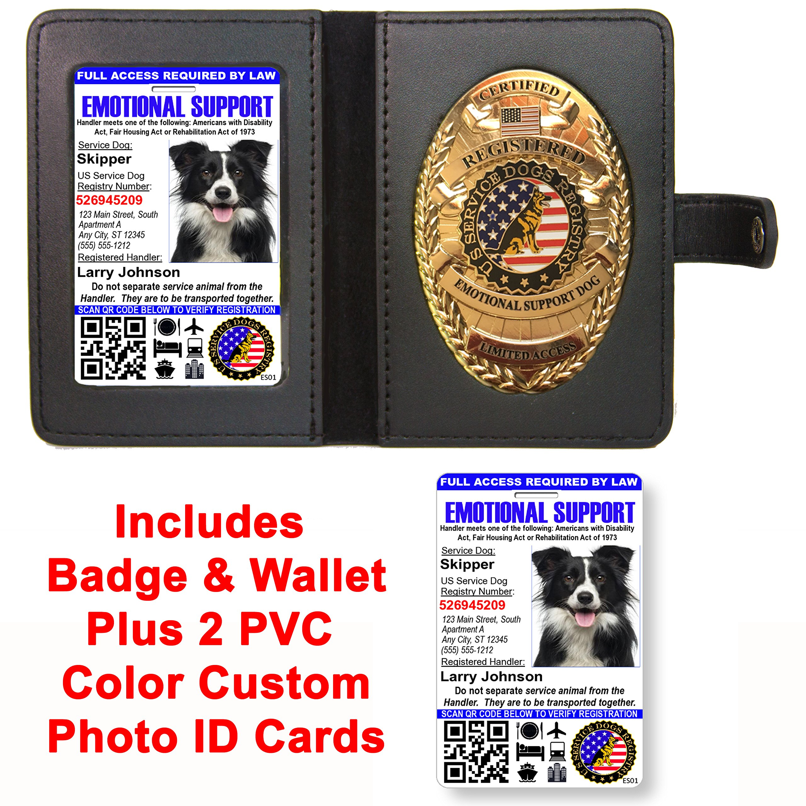 Emotional Support Dog Badge & Leather Wallet with 2 Custom Photo ID's & Registration on US Service Dog Registry by Just 4 Paws
