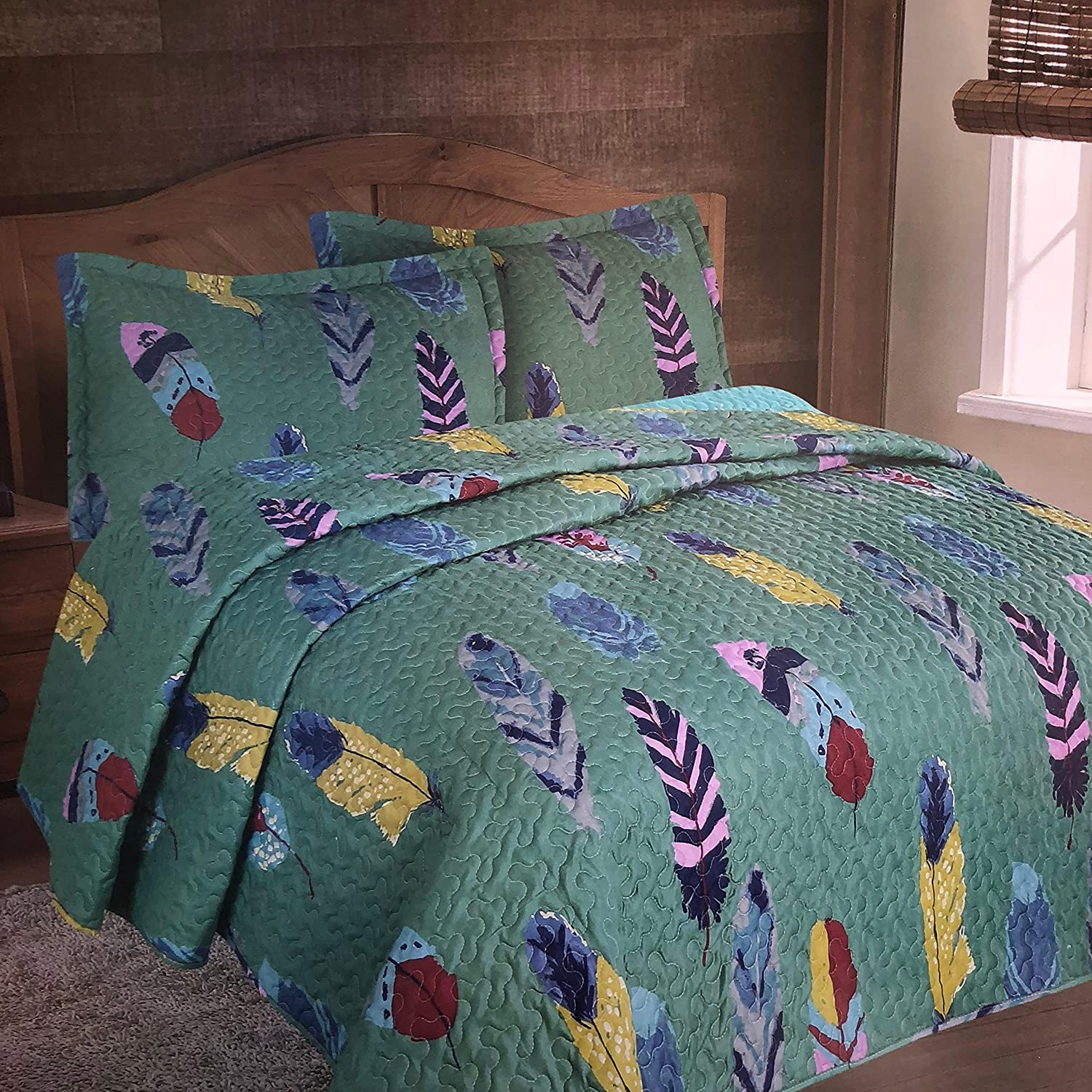 DREAM CATCHER Full Queen QUILT SET WESTERN FEATHERS TURQUOISE SOUTHWESTERN
